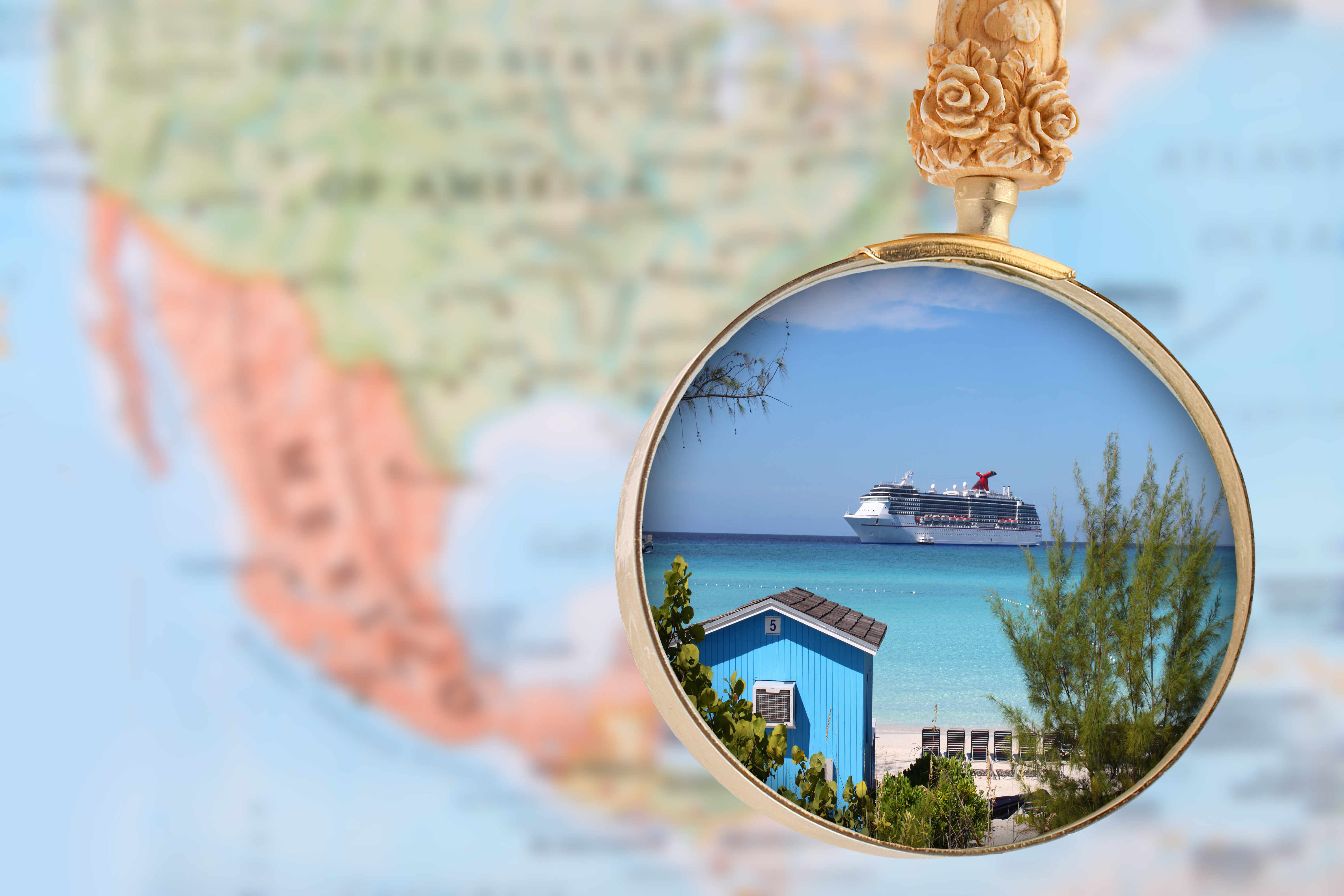 cruise ship with magnifying glass